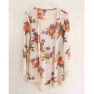 Xhilaration Women's Floral Kimono Blouse Top Sz L